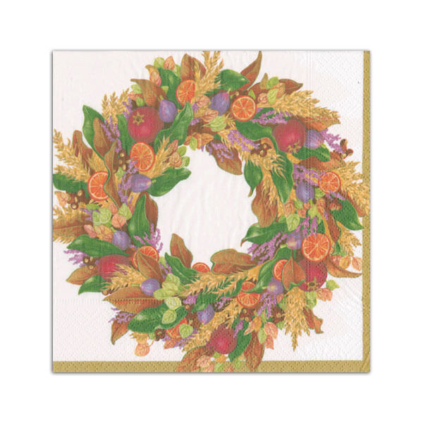 Autumn Wreath Cocktail Napkin - All She Wrote
