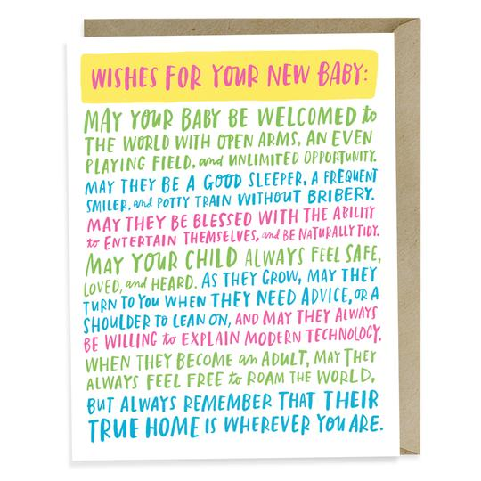 Wishes For Your New Baby Card - All She Wrote