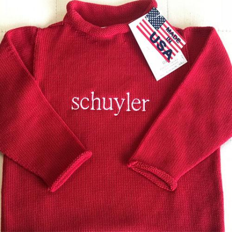Red Cotton Rollneck Sweater - All She Wrote