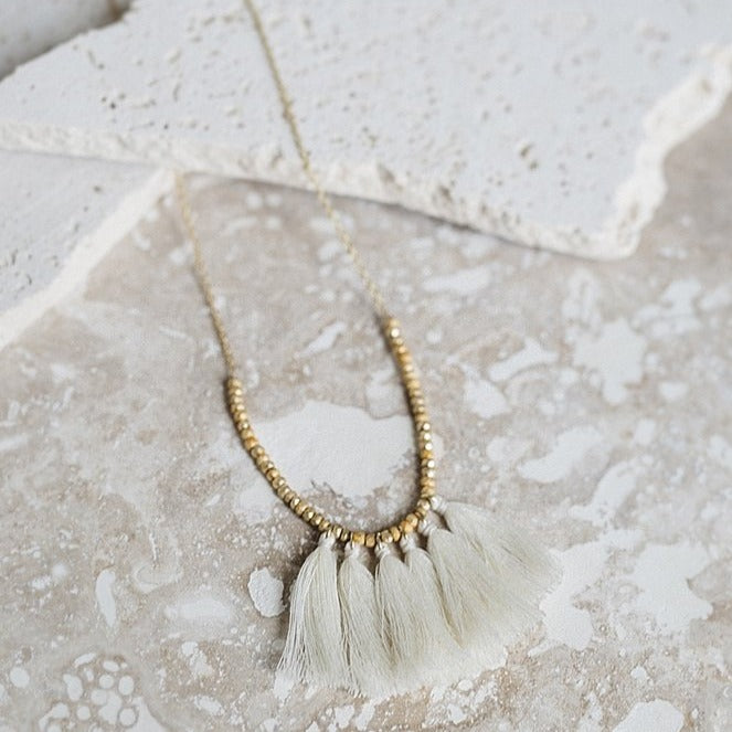 Mini Tassel Necklace Ivory - All She Wrote