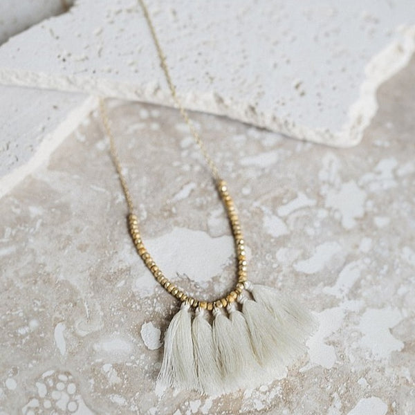 Joya Mini Tassel Necklace Ivory