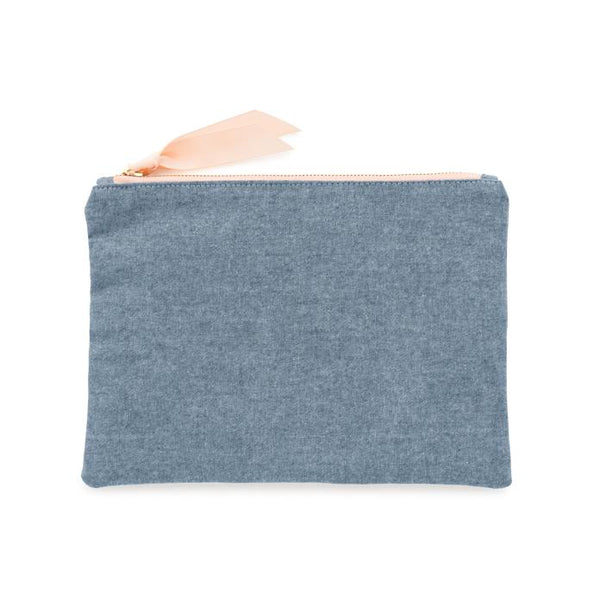 Sugar Paper Chambray Pouch - All She Wrote
