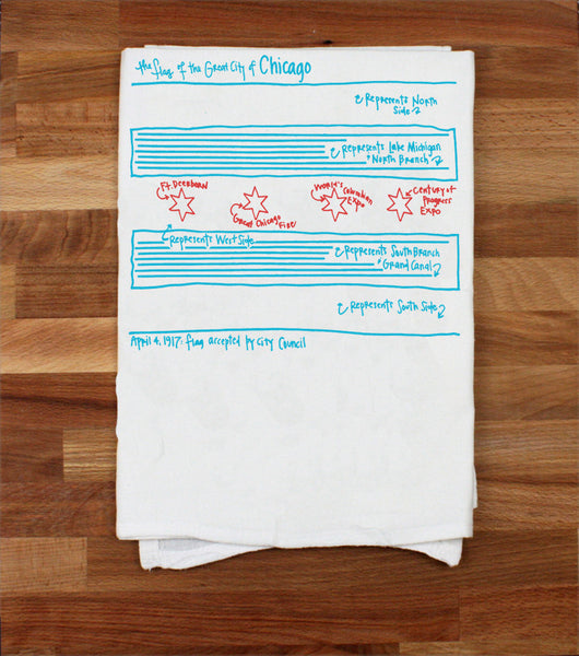 Chicago Tea Towel- Chicago Flag - All She Wrote