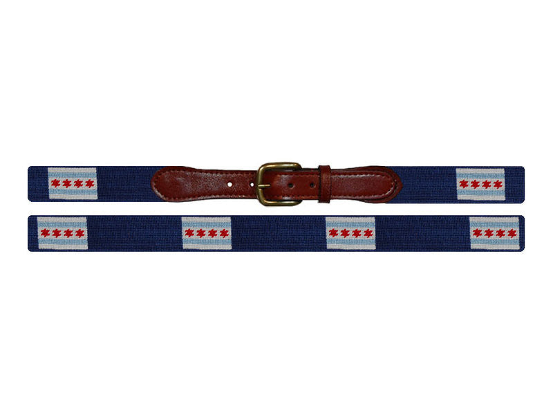 Chicago Flag Needlepoint Belt - All She Wrote