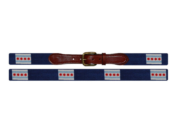 Smathers & Branson Needlepoint Belt- Chicago Flag - All She Wrote