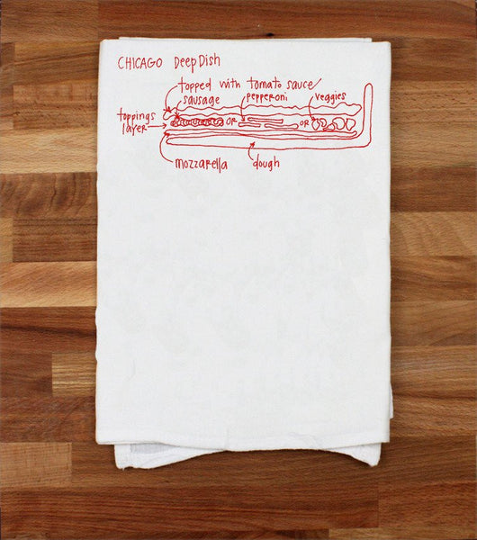 Chicago Tea Towel- Deep Dish Pizza - All She Wrote