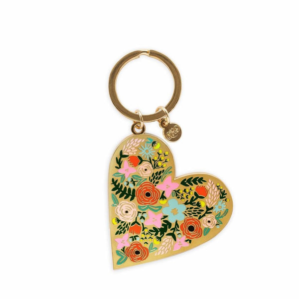 Enamel Floral Heart Keychain - All She Wrote