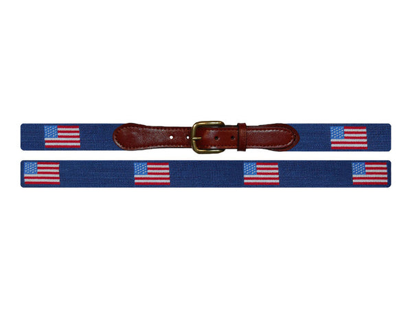 Smathers & Branson Needlepoint Belt- American Flag - All She Wrote