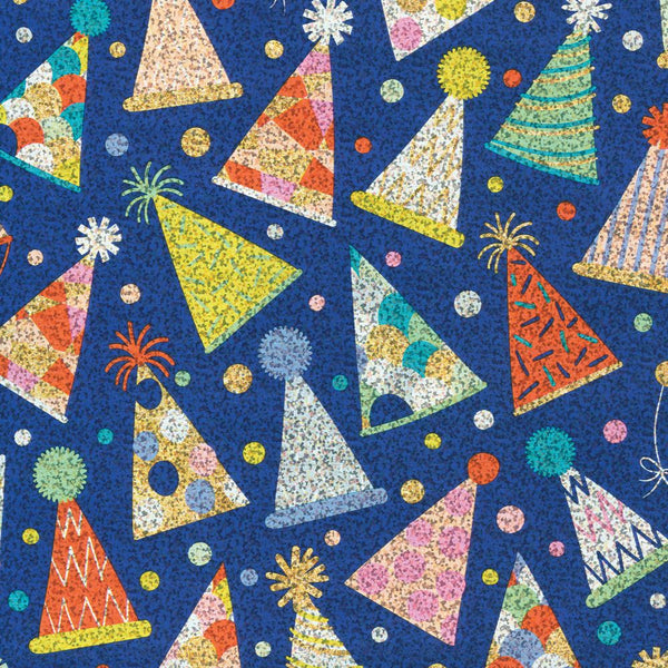 Caspari Blue Hats Gift Wrap - All She Wrote