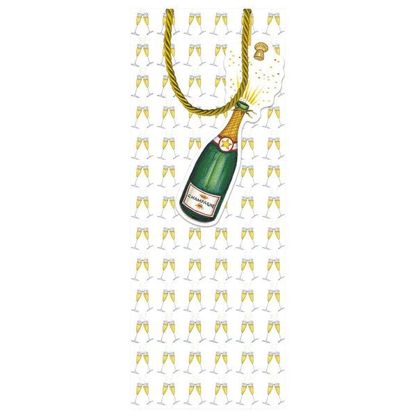 Caspari Bubbly Bottle Bag - All She Wrote