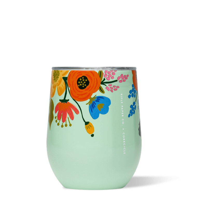 Turquoise Floral Stemless Wine Cup - All She Wrote