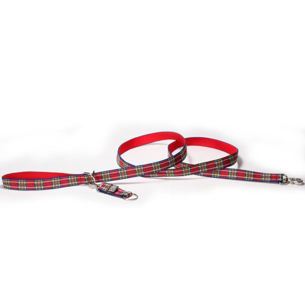 Harry Barker Plaid Leash - Red