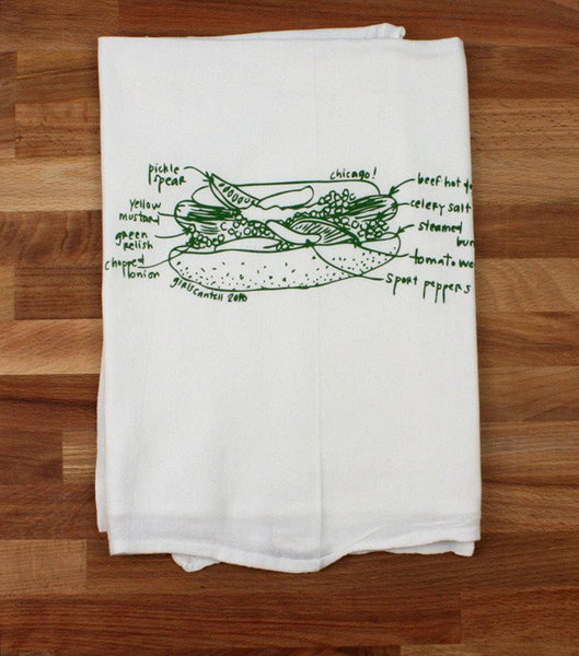 Chicago Tea Towel- Hot Dog - All She Wrote