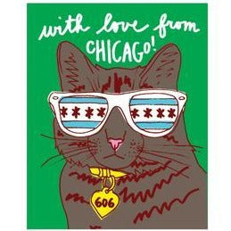 Cool Chicago Cat Card - All She Wrote