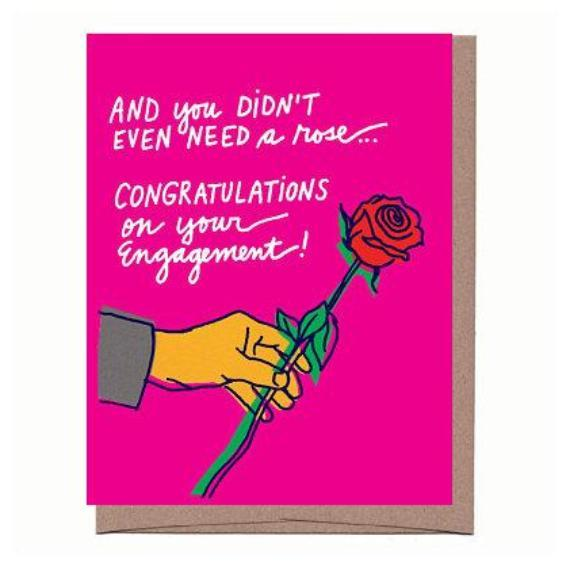 Rose Engagement Card - All She Wrote