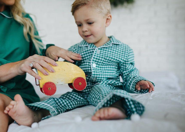 Petite Plume Green Gingham Pajama Set