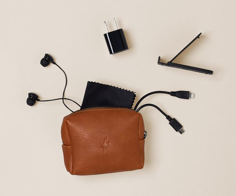 Cognac Leather Tech Kit - All She Wrote
