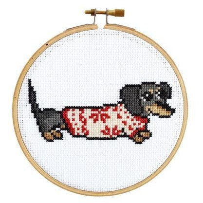 Cozy Dachshund Cross Stitch Kit - All She Wrote