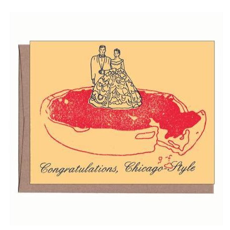 Chicago Pizza Wedding Card - All She Wrote