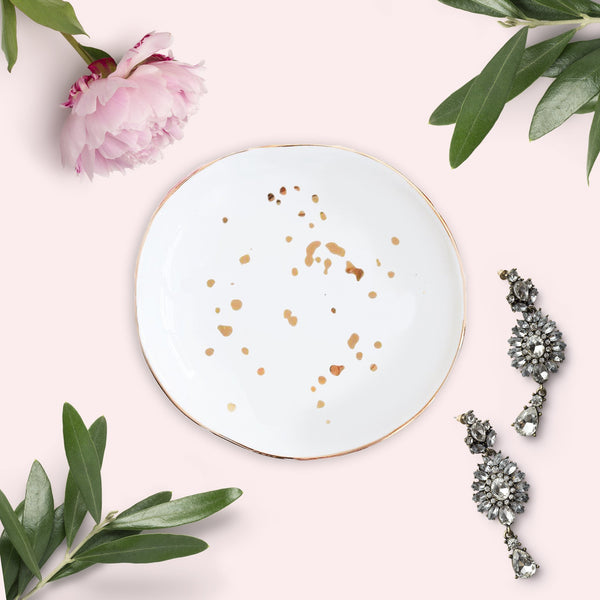White & Gold Speckled Jewelry Dish