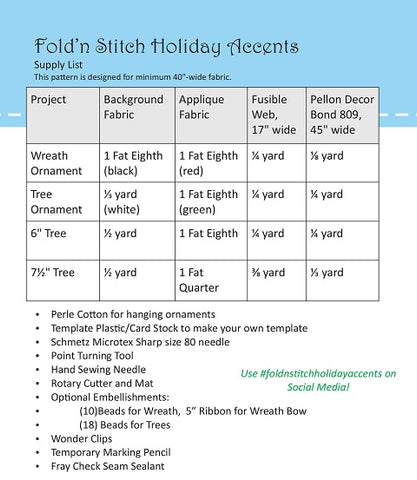 Fold n'Stitch Holiday Accents Starter kit