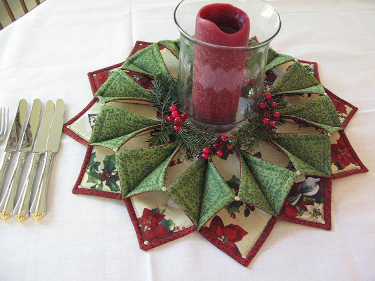 Fold'n Stitch Wreath as a Table Topper