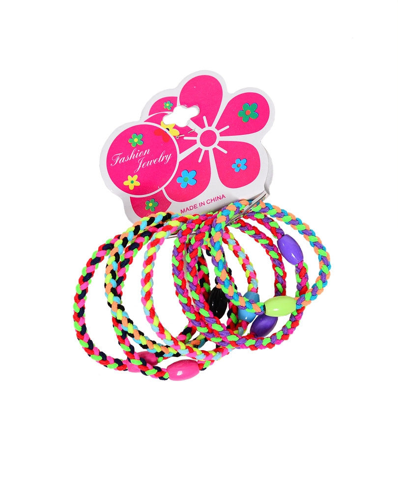 7 PC Colorful Braided Ponytail Holder with Bead