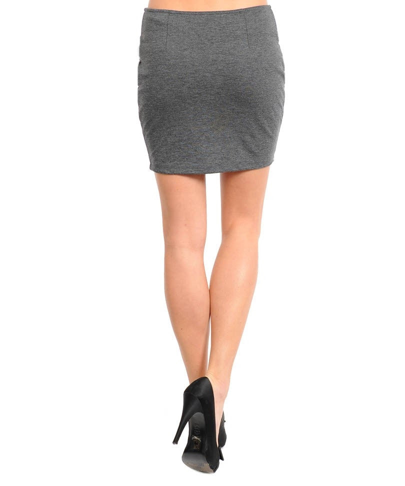 Charcoal Criss-Cross Pencil Skirt