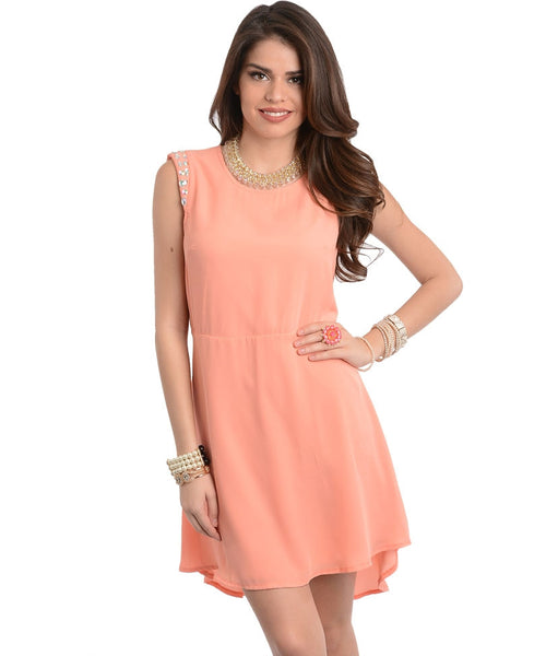 Peach Gems Chiffon Dress