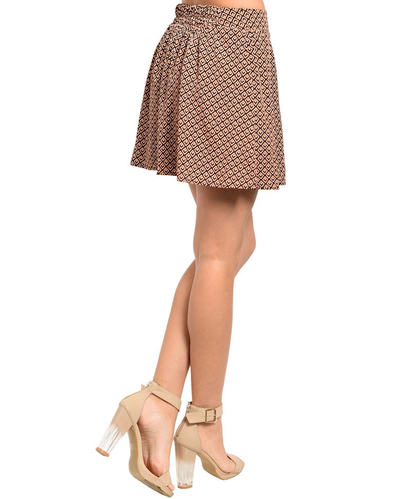 Geo Theme Pleated Mini Skirt