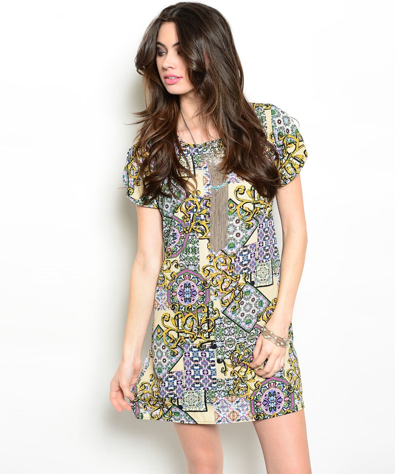 Geometric Mini Shift Dress
