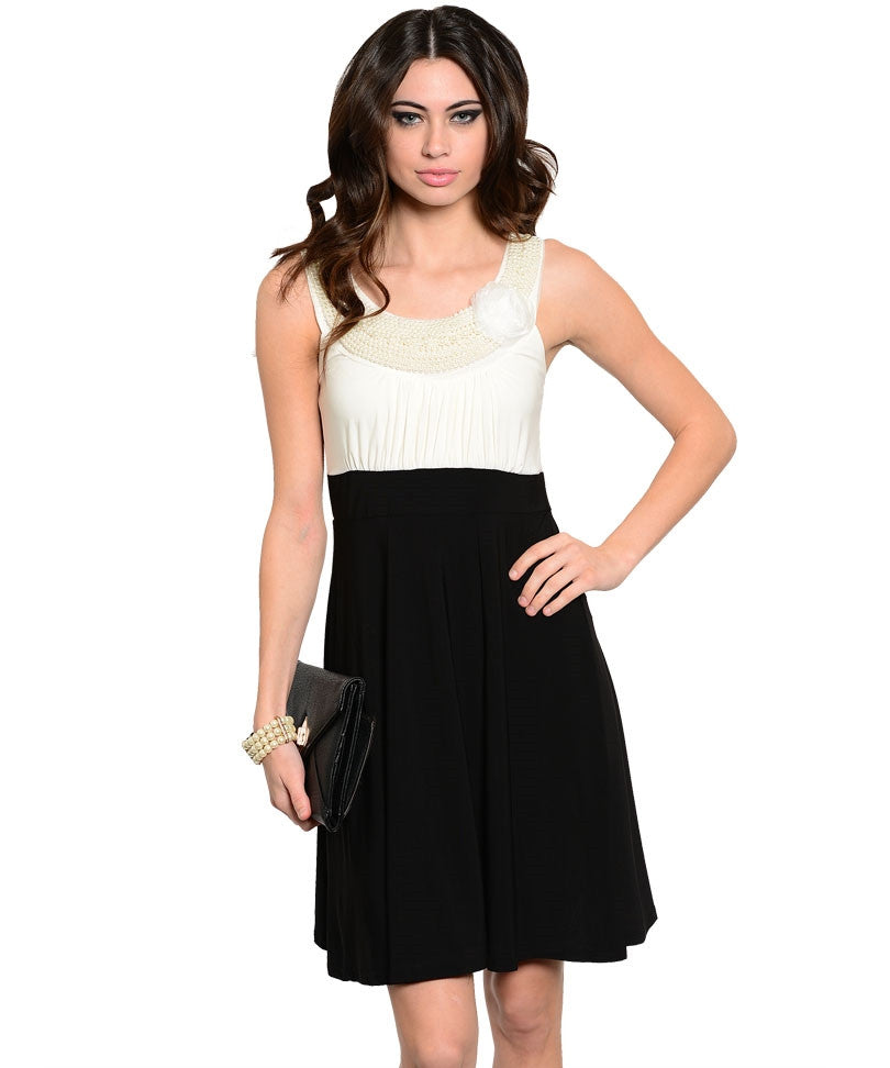 Elegant Ivory Black Beaded Dress
