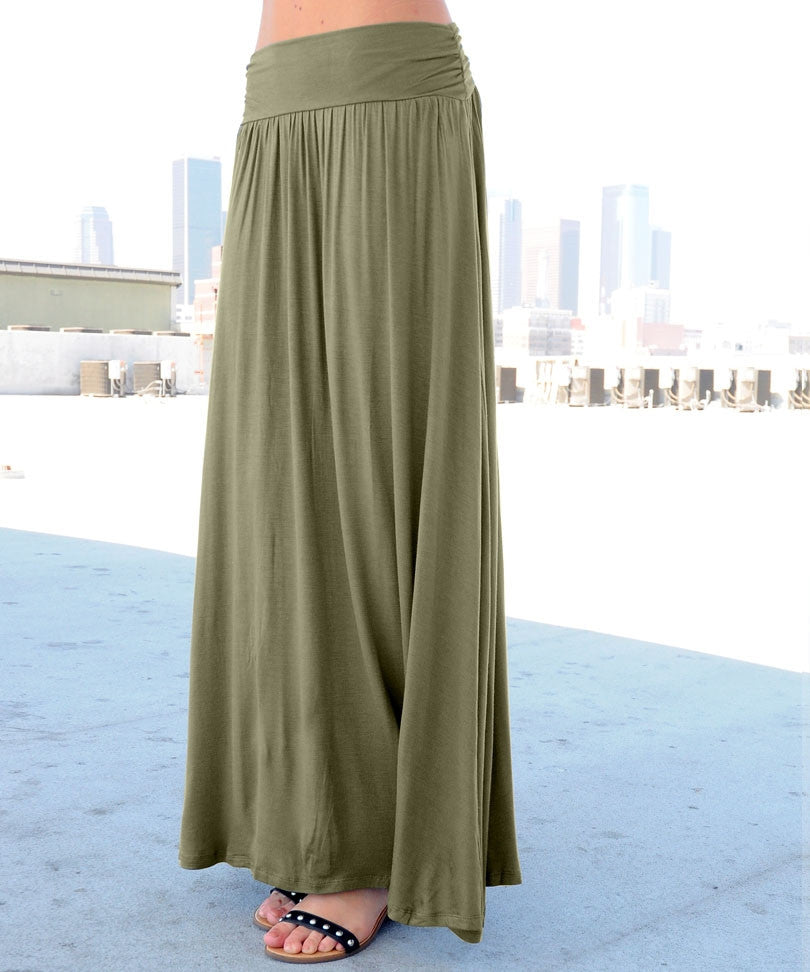 Olive Color Long Maxi Skirt (Sold Out)