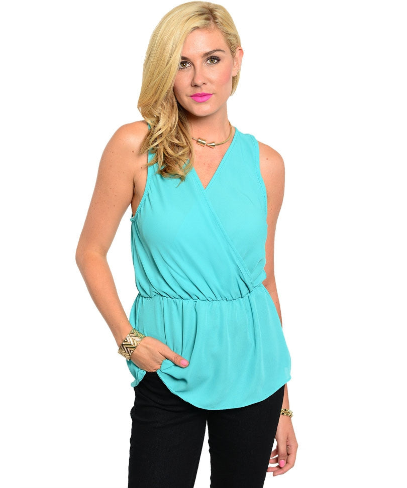 Cute Turquoise Sleeveless Wrap Top