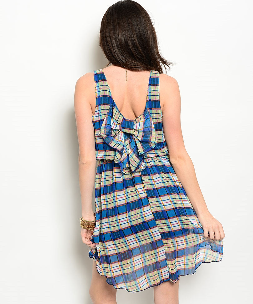 Blue Ivory Dress with Bow