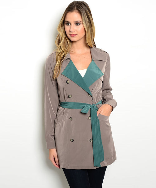 Trendy Contrast Tan Jacket
