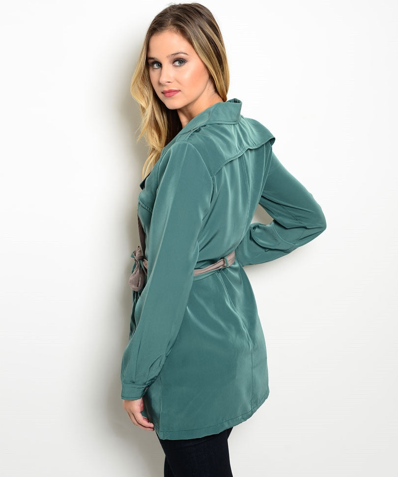 Trendy Contrast Green Jacket