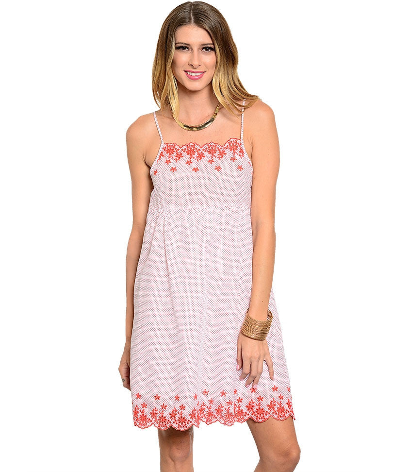 Embroidered Woven Spaghetti Strap Smock Dress