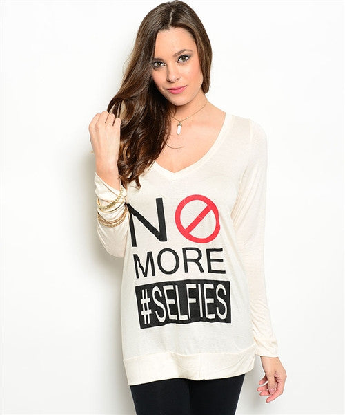 No More Selfies Long Sleeve Tee