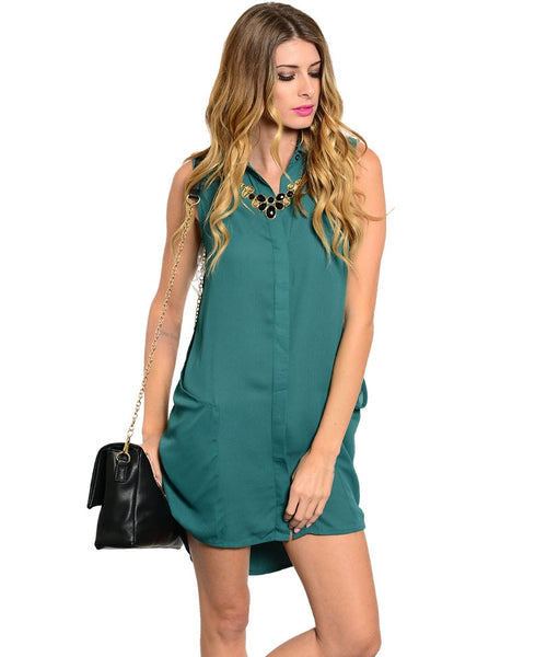 Green Sleeveless Shirt Dress
