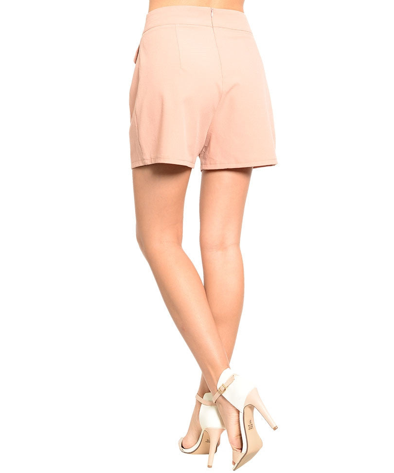 Front Pockets Peach Shorts