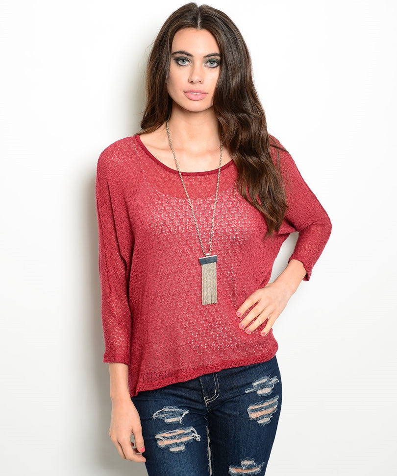 Burgundy Textured Dolman Sweater