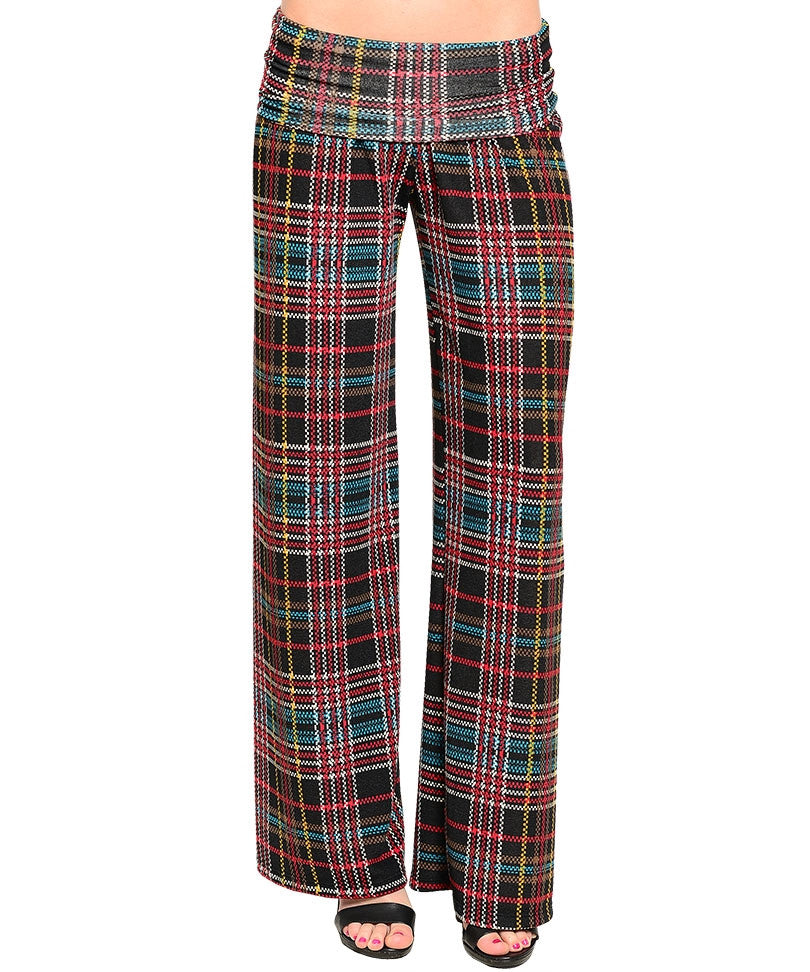 Plaid Striped Palazzo Pants