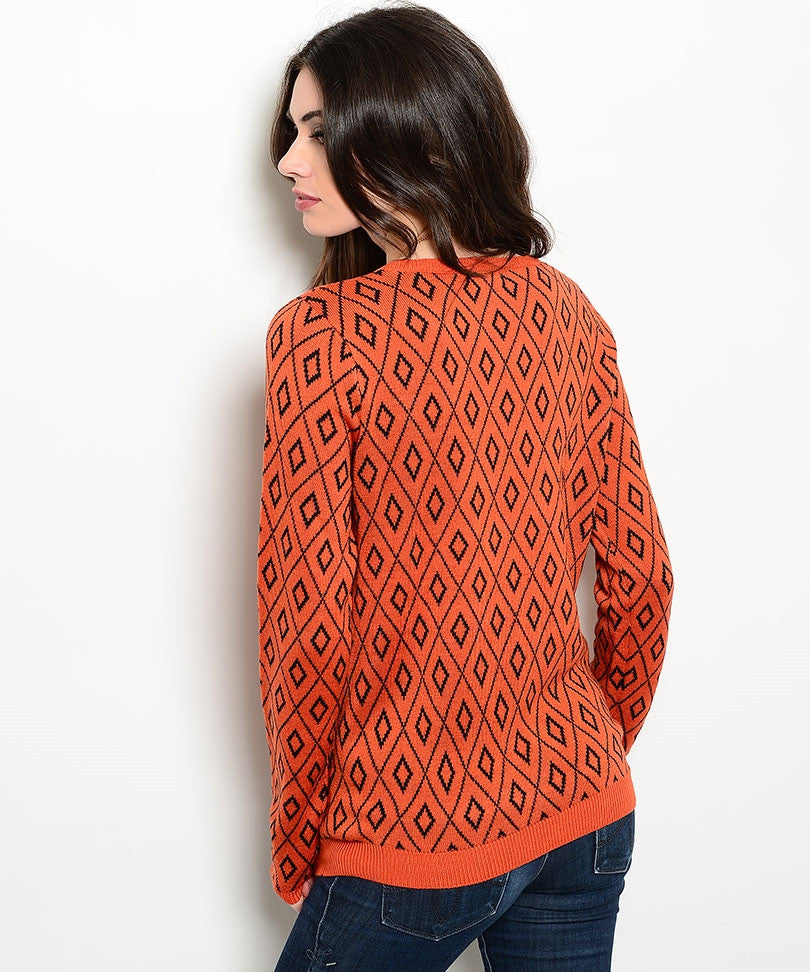 Geometric Orange Diamond Print Sweater