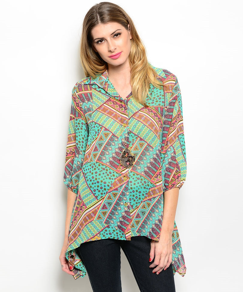 Asymmetrical Jade Blouse