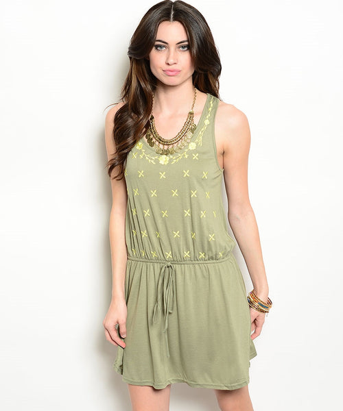 Olive Racer Back Tank Floral Embroidered Dress (Sold Out)