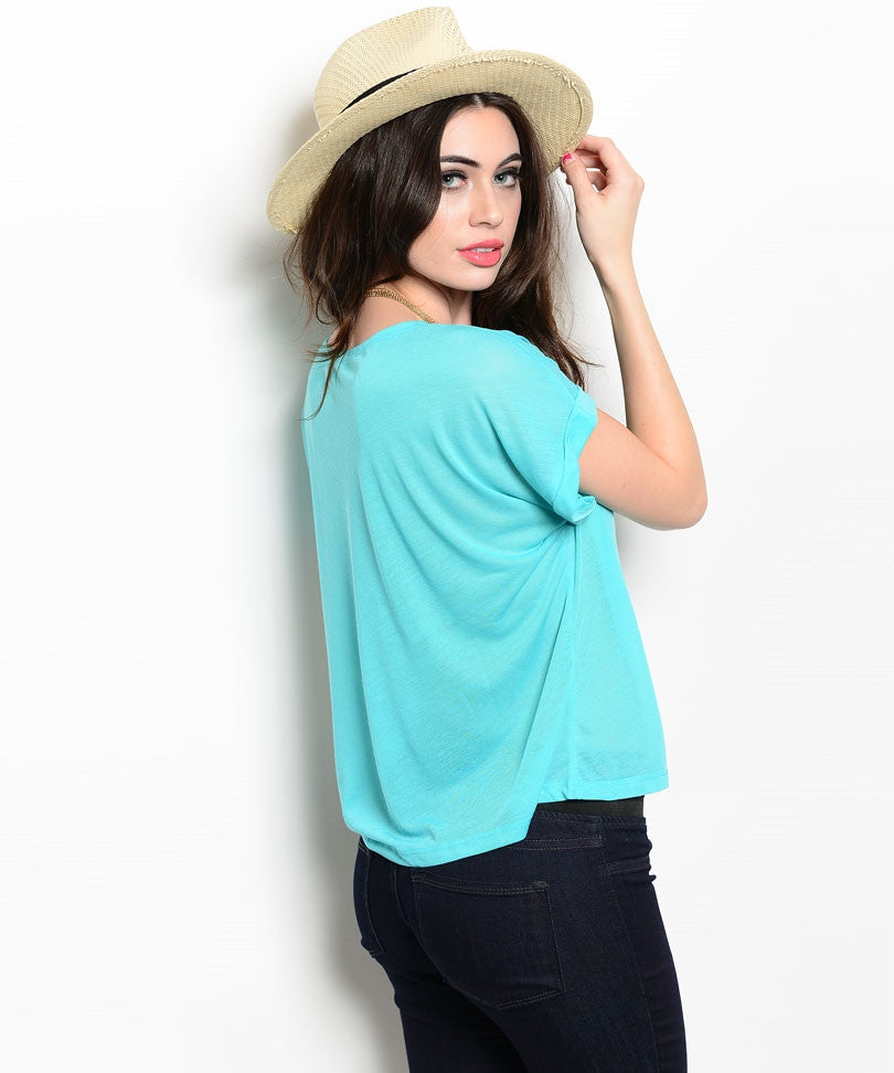 Mint Wide Cuffed Sleeve Tee