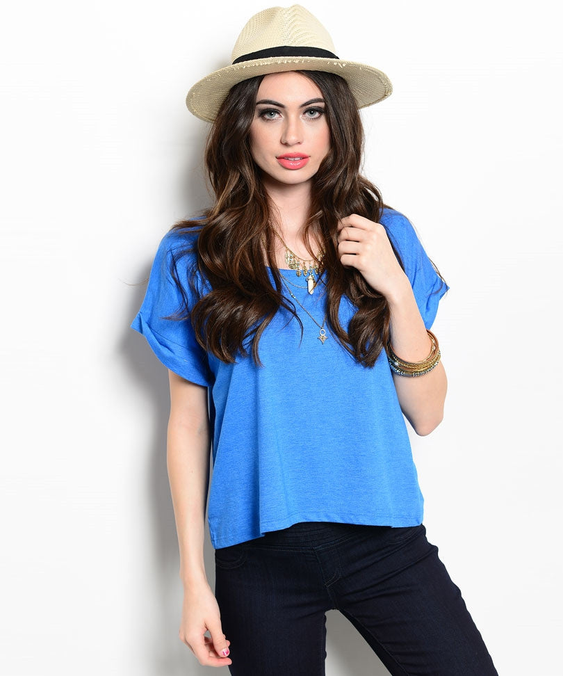 Electric Blue Cuffed Sleeve Wide Tee