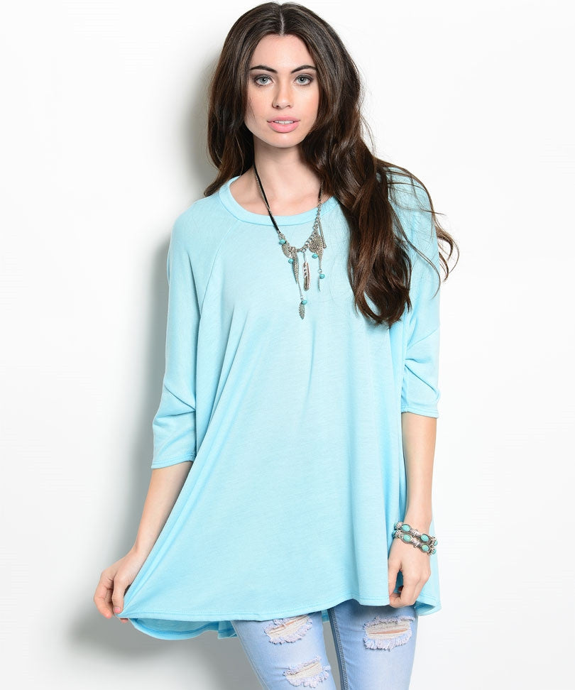Baby Blue Short Dolman Tent Top
