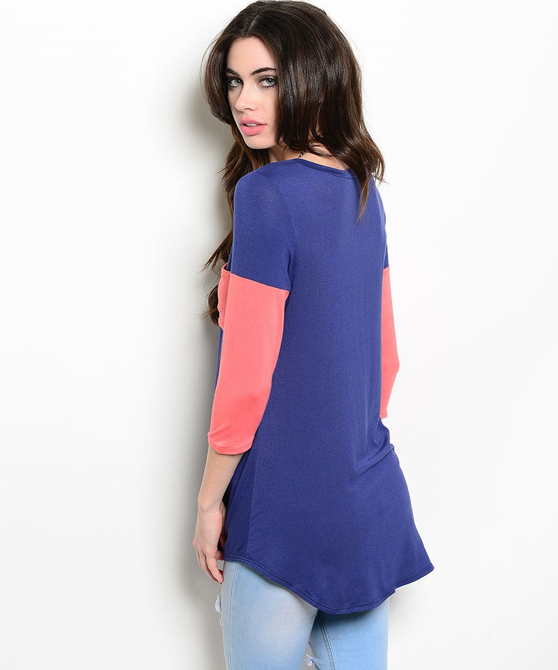 Navy Shirt with Coral Sleeves and Pockets